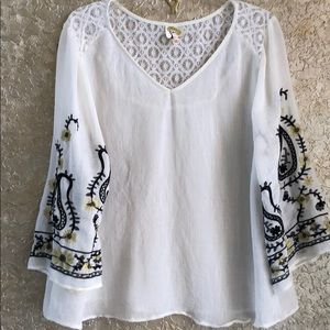 Anthropologie Fog and Flower XL Embroidered
